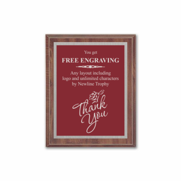 "7"" x 9"" Customizable Economy Award Plaque with cherry veneer board and maroon aluminum engraving plate"