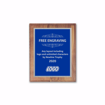 "6"" x 8"" Customizable Executive Award Plaque with solid walnut board and blue aluminum engraving plate"