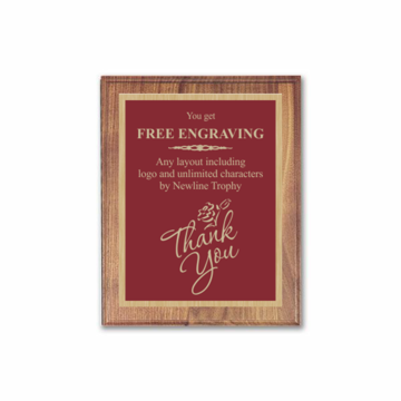 "7"" x 9"" Customizable Executive Award Plaque with solid walnut board and maroon engraving plate"