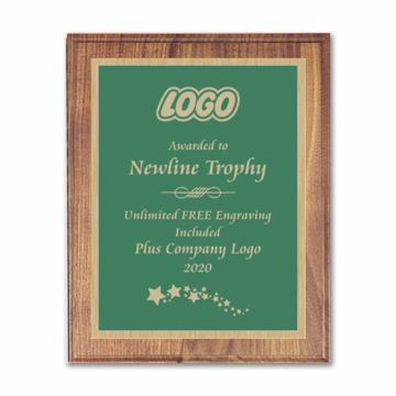 "9"" x 12"" Customizable Executive Award Plaque with solid walnut board and green engraving plate"