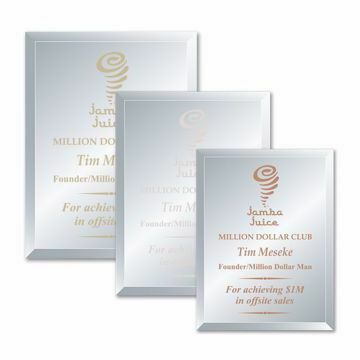 Purity Glass Plaque shown three sizes with gold, silver and copper filled sand etched text and logo
