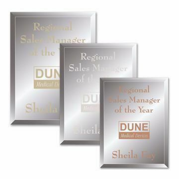 Reflections Glass Plaque shown three sizes with gold, silver and copper filled sand etched text and logo