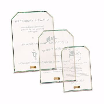 Notched Premier Glass Stand-Up Plaque with sand etched logo and text shown three sizes