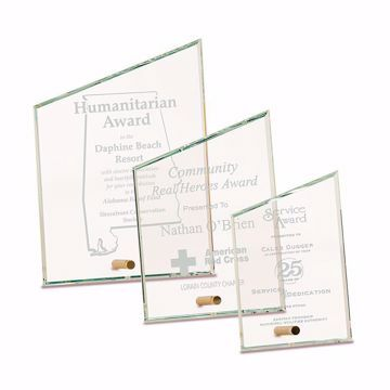 Slant Premier Glass Stand-Up Plaque with sand etched logo and text shown three sizes