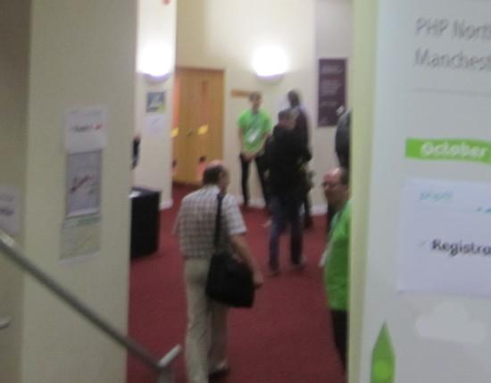 Mark Baker entering PHPNW welcome entrance
