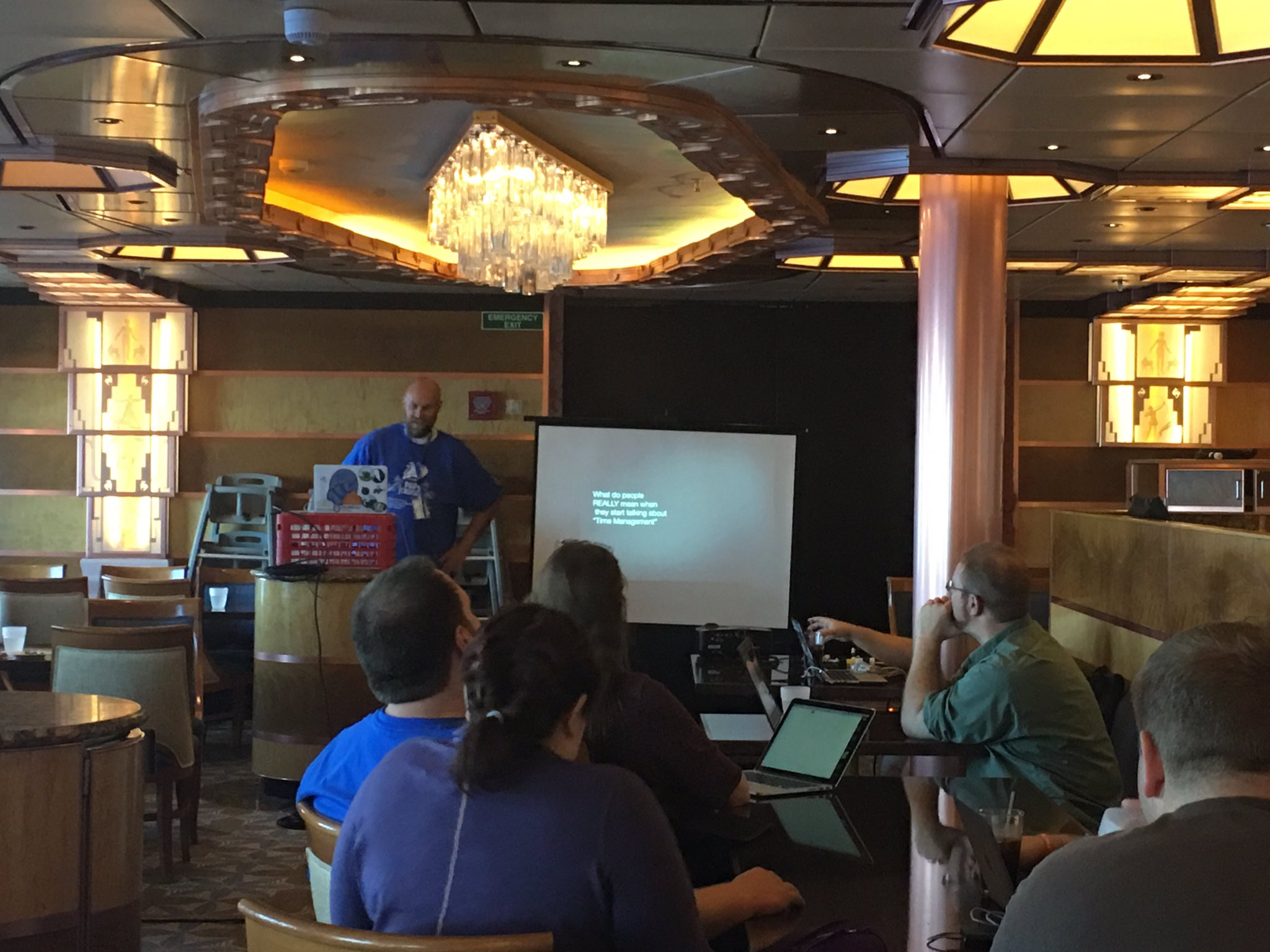 Chris Hartjes at #phpcruise (18th July 2016) talking about Time Management (Pic credit to Kevin Bruce)