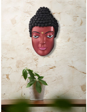 Copper-Color Lord Buddha Face for Wall Decor