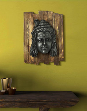 Lord Shiva Jatadhari  - Antique Look in Iron with Wooden Frame