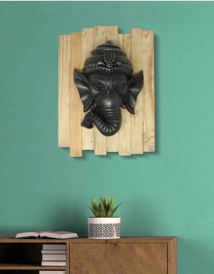 Lord Ganesh - Antique Look in Iron with Wooden Frame