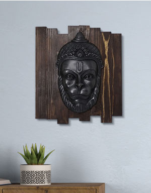 Lord Hanuman  - Antique Look in Iron with Wooden Frame