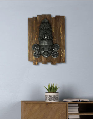 Lord Balaji - Antique Look in Iron with Wooden Frame