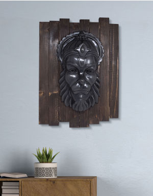 Lord Mahavir Hanuman - Antique Look in Iron with Wooden Frame