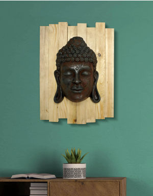 Lord Buddha - Antique Look in Rust with Wooden Frame