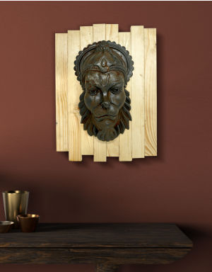 Lord Hanuman - Antique Look in Rust with Wooden Frame