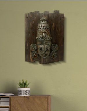 Lord Balaji - Antique Look in Rust with Wooden Frame