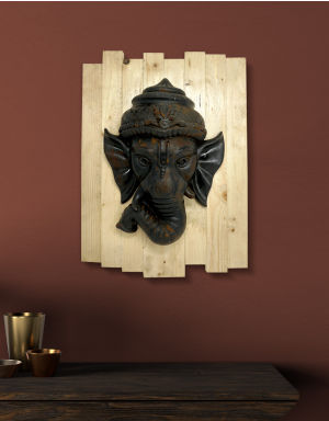 Lord Ganesh - Antique Look in Rust with Wooden Frame