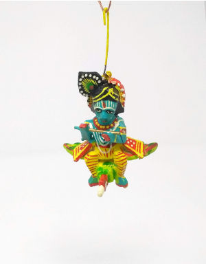 Wooden and Colorful Shri Krishna on flying Peacock