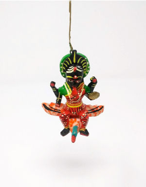Wooden and colorful Maa Kali sitting on bird