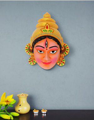 Multi-Colour Goddess Durga Face with Multi colour earring For Wall Decor and Blessing