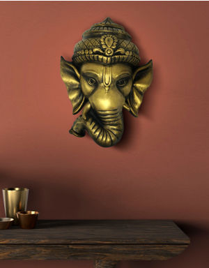 Golden-Color Lord Ganesh Face for Wall Decor