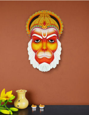 Multi-Color Lord Hanuman Face with Mukut for Wall Decore