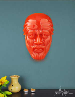 Blessing Lord Sai Baba - Orange Semi-Transparent Glossy Look Sai Face
