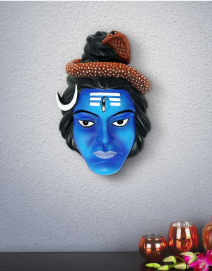 Multi-Colour Shiva Face with Trinetra, Moon & Snake on head