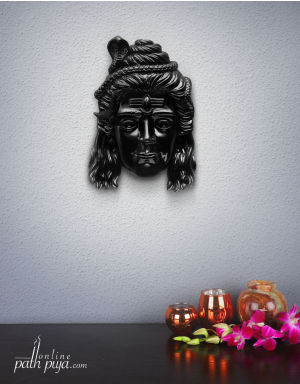 Blessing Lord Shiva Jatadhari - Glossy Marble Look in Black Colour