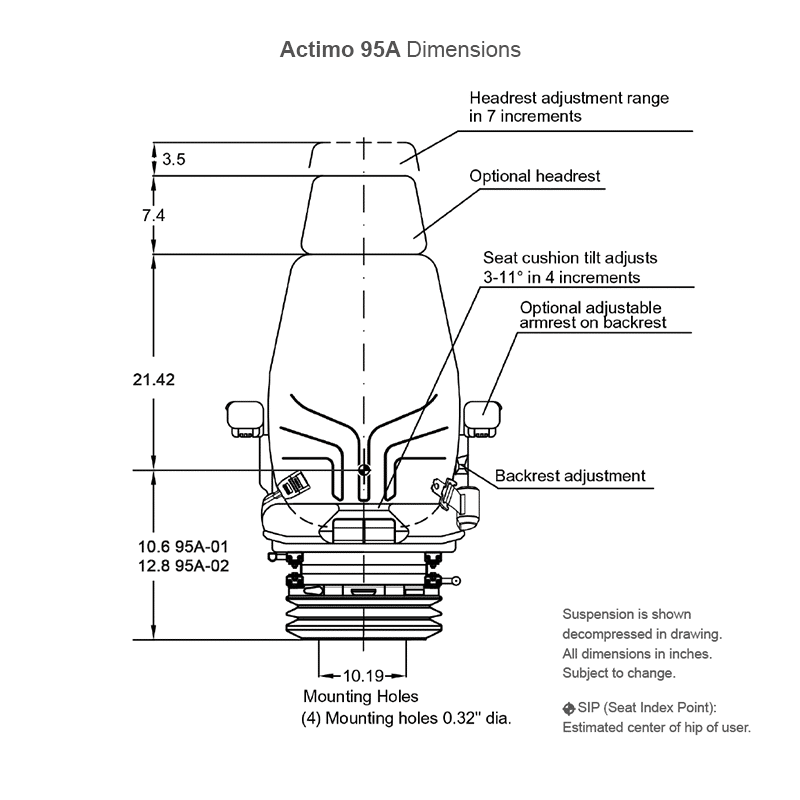 Actimo 95A seat assembly dimensions