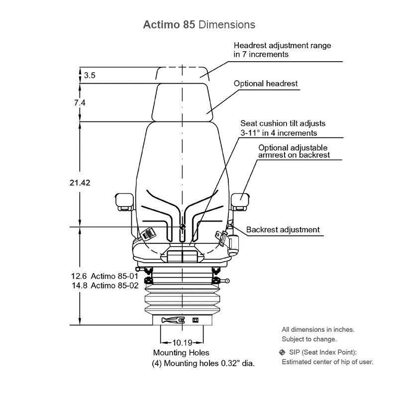 Actimo 85 seat assembly dimensions