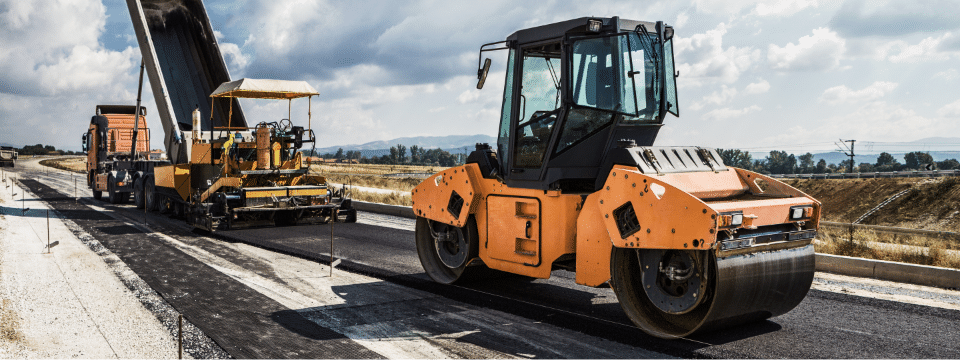 Road work equipment in use