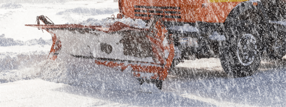 A plow clearing away snow