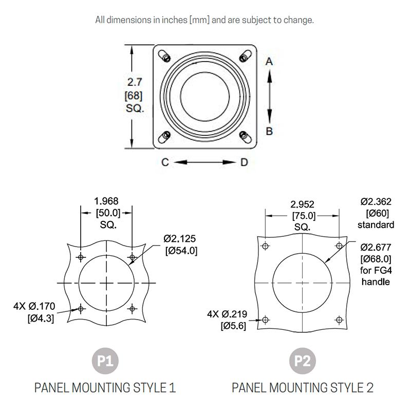 CS3 B/B panel mounting (mounts from below). P2 mounting pattern uses larger (drop-in) CS3 body.