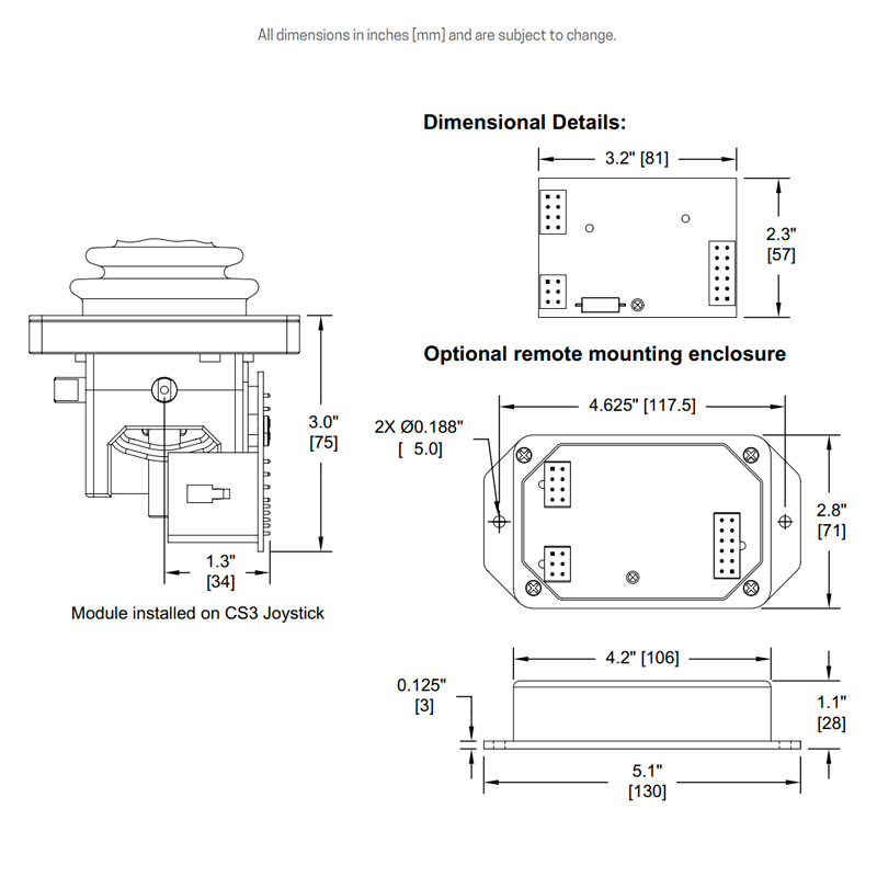 Dimensions for joystick installed module and optional remote mounting enclosure
