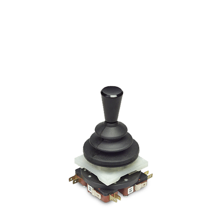 Dual axis M2 mini joystick with tapered handle and microswitches