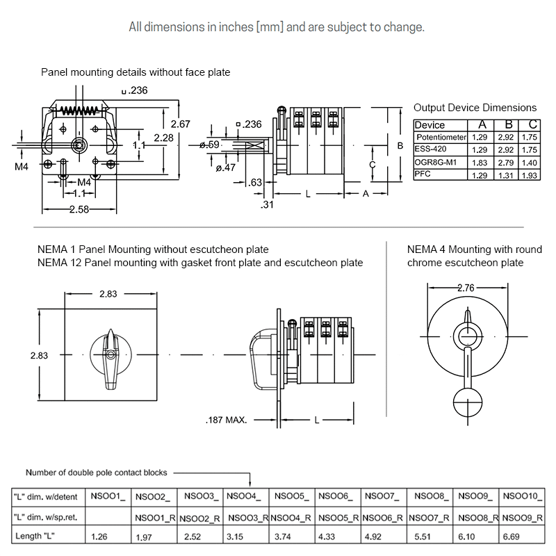 NSO-0 overall dimensions