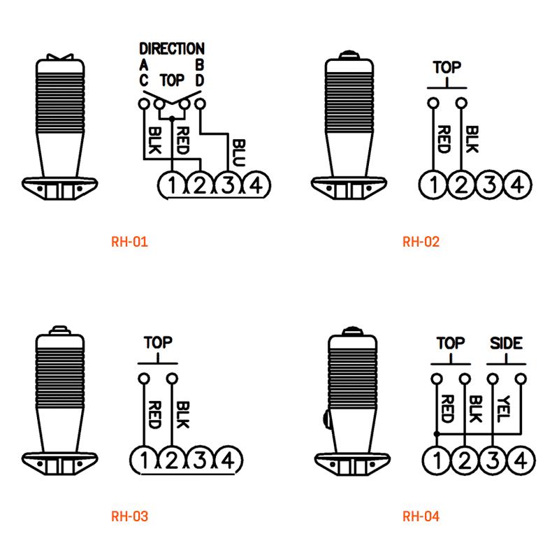 RH-01, RH-02, RH-03, RH-04 wiring details