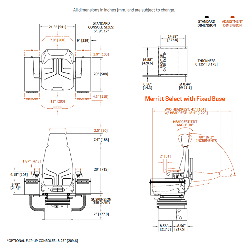 Fixed base model dimensions