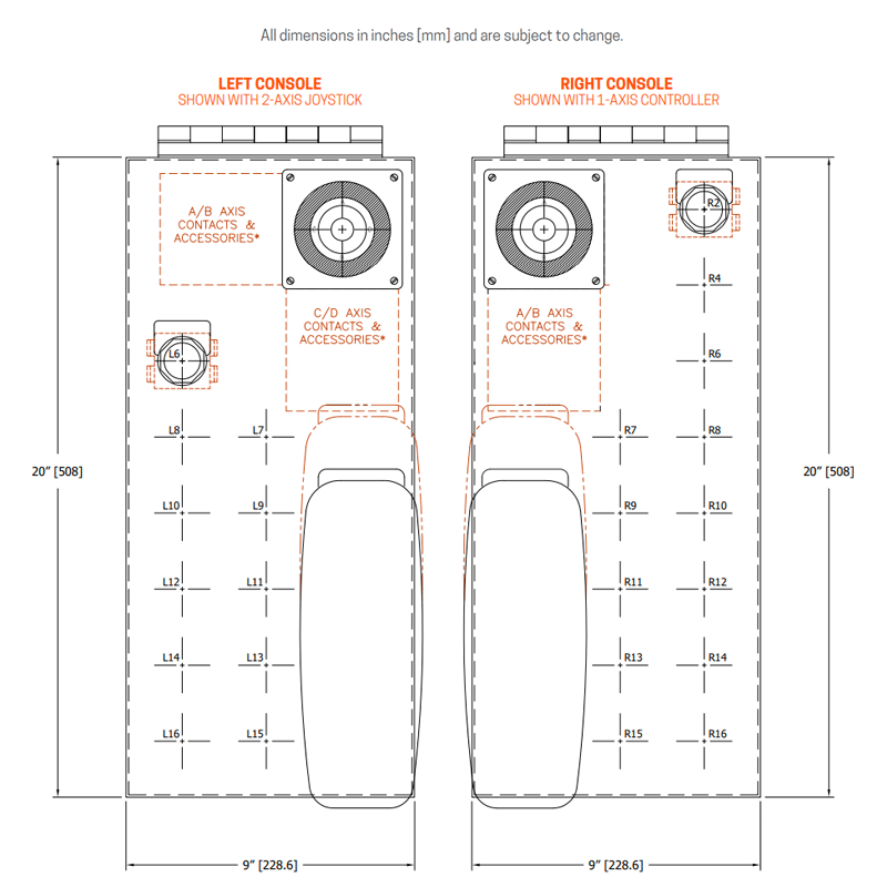 9 inch console standard layout