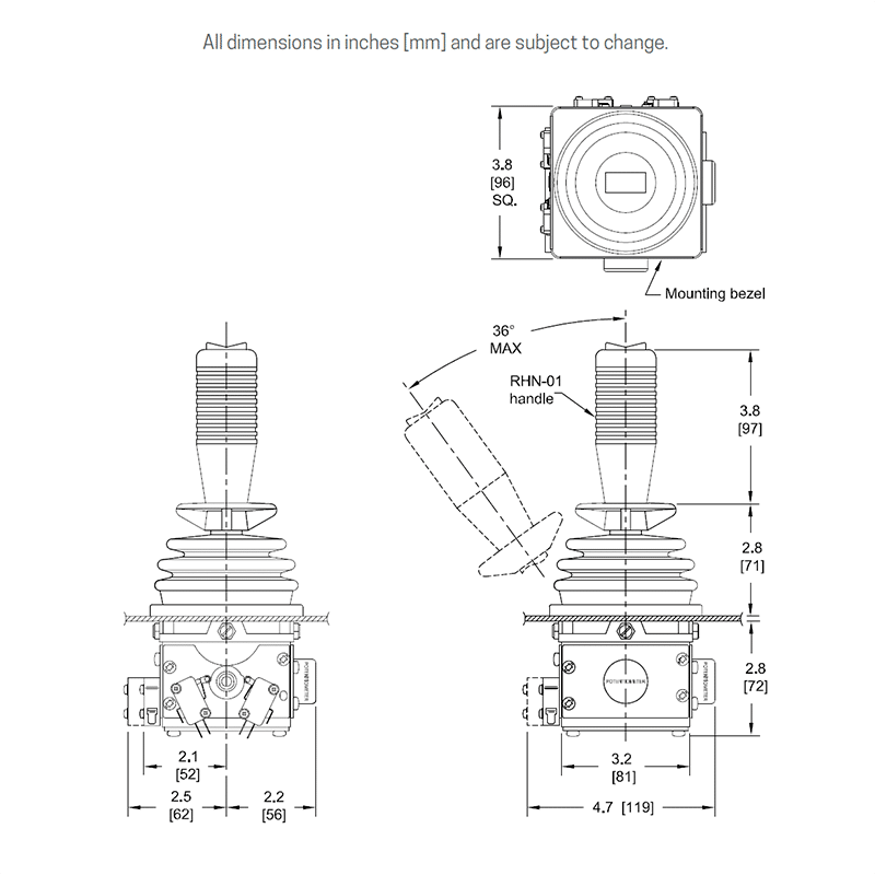 Overall dimensions with potentiometer and microswitches. Shown with RH rocker handle.
