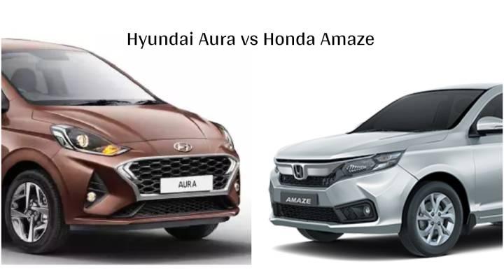 Hyundai Aura vs Honda Amaze - Specification Comparison