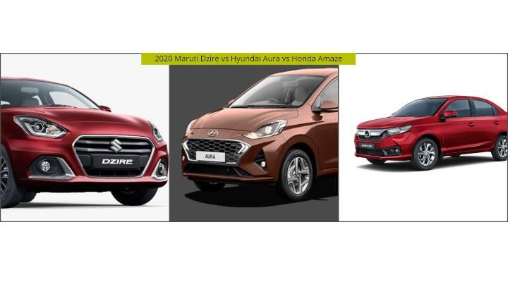 2020 Maruti Dzire vs Hyundai Aura vs Honda Amaze - Spec Comparison