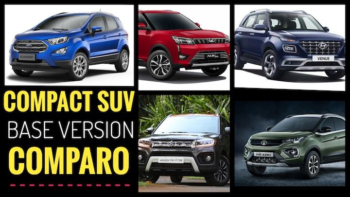Base Variant Of Petrol Compact SUVs Compared: Maruti Brezza To Tata Nexon