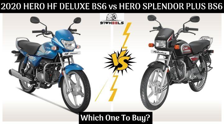 2020 Hero Hf Deluxe Bs6 Vs Hero Splendor Plus Bs6 Spec Comparison Which One To Buy
