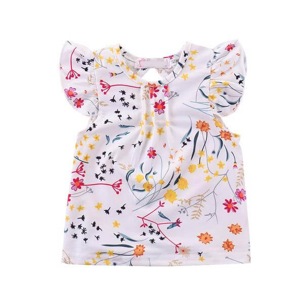 Floral Top and Yellow Suspender Skirt and Headband Set
