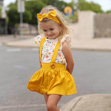 Load image into Gallery viewer, Floral Top and Yellow Suspender Skirt and Headband Set