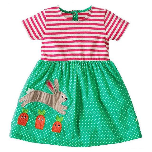 Short Sleeve Little Pet Applique Dress