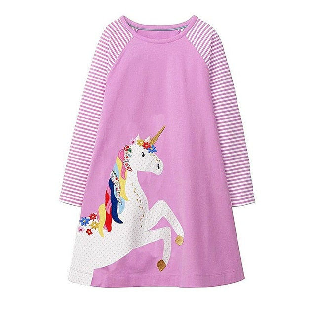 Long Sleeve Unicorn Applique Dress