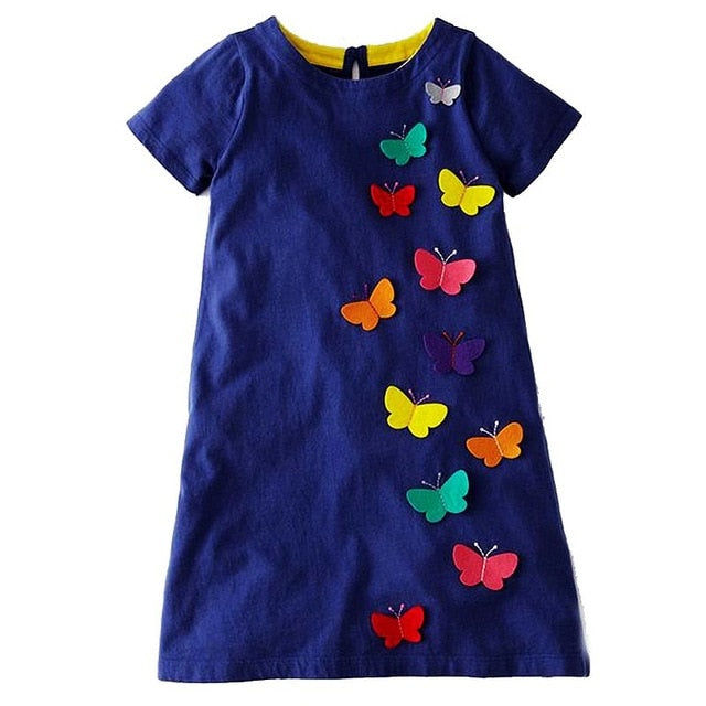 Short Sleeve Butterfly Applique Dress
