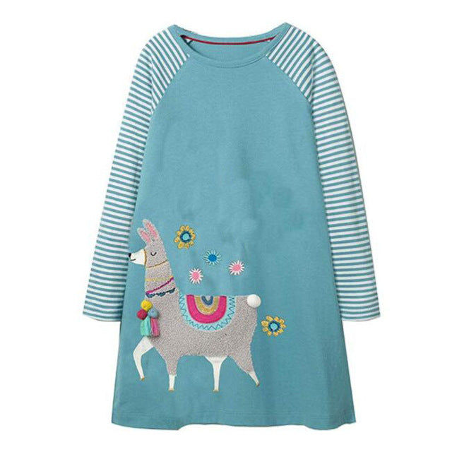 Long Sleeve Llama Applique Dress
